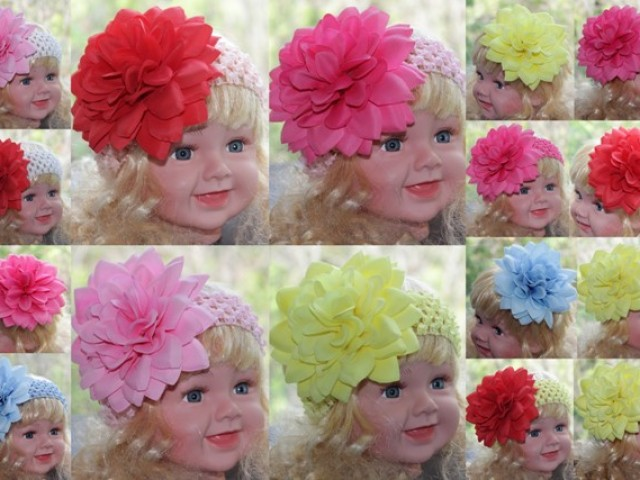 Вязанные цветы на голову